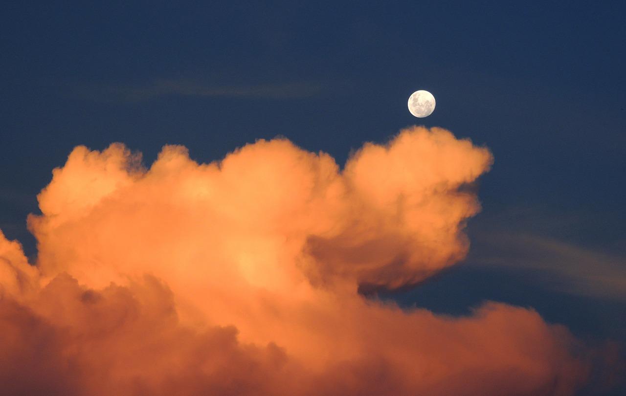 clouds, moon, sky