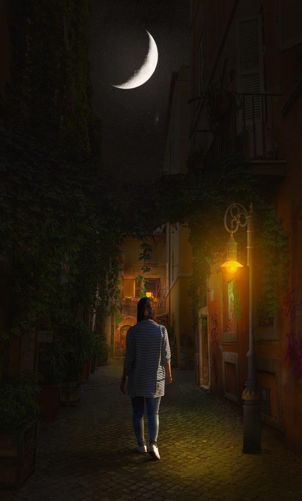 girl, night, street